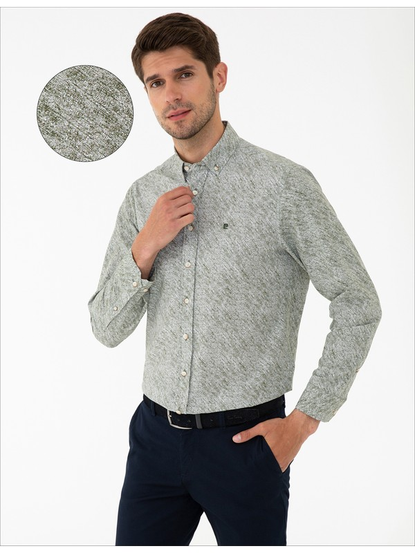 Pierre Cardin Haki Slim Fit Gömlek 50240375-VR027