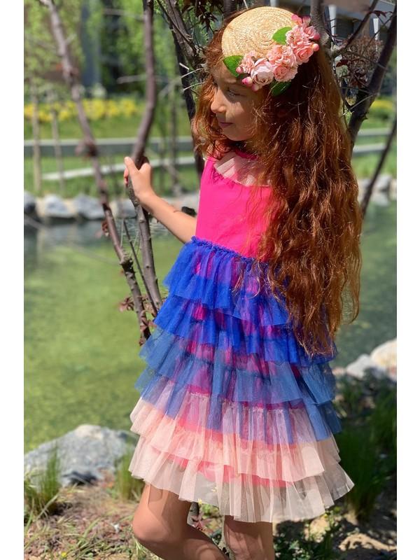 Colorinas Rainbow Tutu Elbise Kısa Kol Pembe