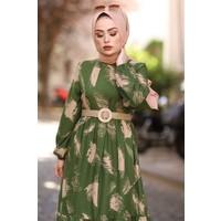 Moda Periy Hasır Kemerlı Beli Büzgülü Tesettür Elbise 3333