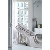 Lux Touch Sofya Bej Keten Koltuk Örtüsü 170 x 210 cm Koltuk Şalı Kanepe Berjer Koltuk Örtüsü Pamuklu Throw