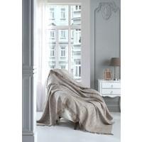 Lux Touch Sofya Hardal Keten Koltuk Örtüsü 170 x 210 cm Koltuk Şalı Kanepe Berjer Koltuk Örtüsü Pamuklu Throw
