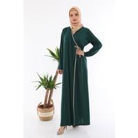 Medipek Kadın Yandan Bağlamalı Namaz Elbisesi Zümrüt Yeşili