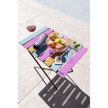 Bino Katlanır Yükseklik Ayarlı Ahşap Bahçe Kamp Piknik Balkon Masası Renkli