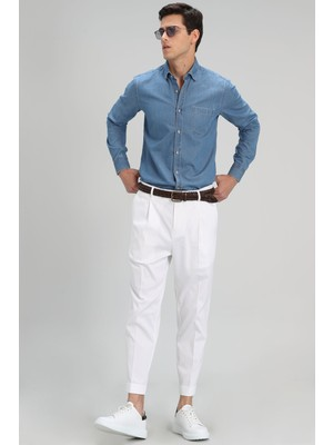 Lufian Roxy Spor Chino Pantolon Tailored Fit Beyaz