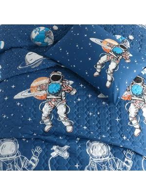 Cotton Touch Astro Mavi Tek Kişilik Kapitone Yatak Örtüsü