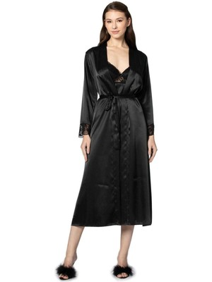 Pierre Cardin 2'li 4370 Siyah Bayan Saten Gecelik Sabahlık Takımı