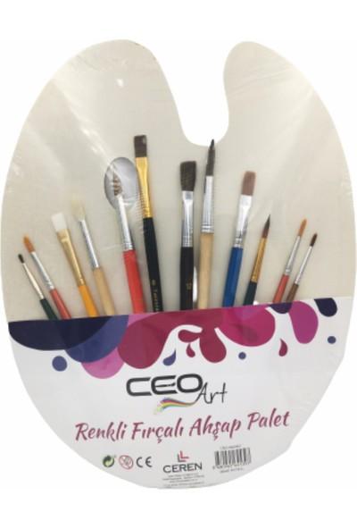 Ceo Art CEO-SN0023 Ahşap Palet + Sentetik Fırça Seti 12'li