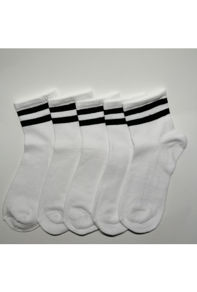 Altıgen Socks 5 Çift Beyaz Tenis Kolej Çorabı