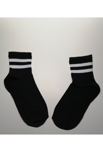 Altıgen Socks 5 Çift Siyah Tenis Kolej Çorabı