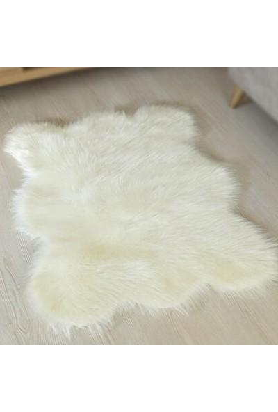 Peluş Dekoratif Peluş Halı 70X100 cm Ekru