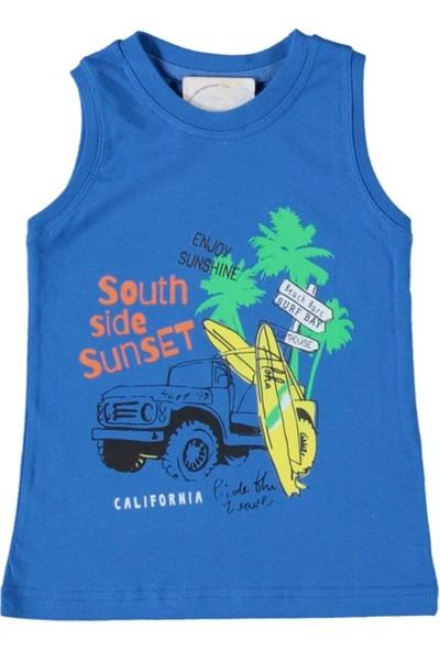 Almi 2-6 Yaş Enjoy Sunshine Baskılı Askılı T-Shirt Saks Mavisi - 4 Yaş