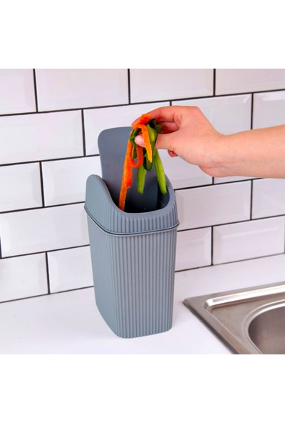 Ferhome Çöp Kovası Mutfak Tezgah Üstü Banyo Çöp Kovası Kutusu Ofis Masa Altı