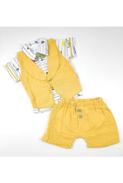 Necix's Müslin Kumaş Renkli Desen Papyonlu Yazlık 2li Bebek Takımı