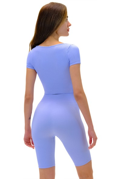 Batex 8403 U Yaka Kısa Kollu Crop Top Seamless Mavi