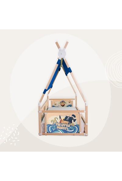 Popcorn Kids Korsanlar Koyu Mavi Çadırlı Campy Montessorı Yatak