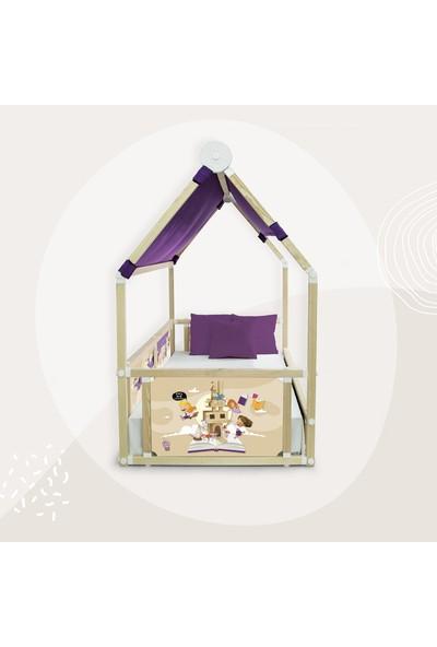Popcorn Kids Back To School Kız Mor Cadırlı Loft Montessorı Yatak
