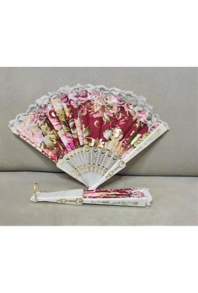 Leva House Yelpaze Dantelli Kırmızı- Çiçek Desenli