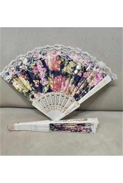 Leva House Yelpaze Dantelli Lacivert- Çiçek Desenli