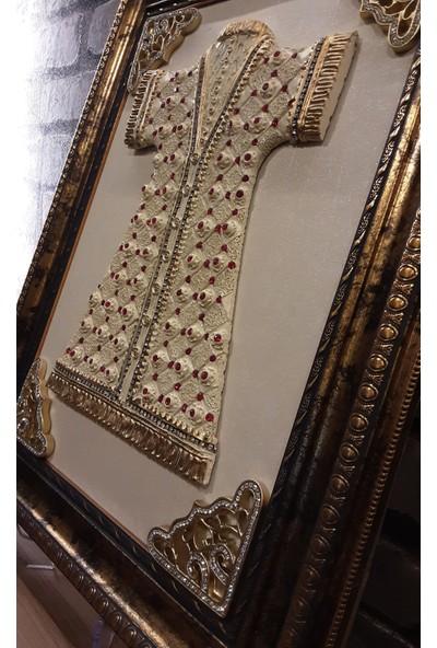 Pınarstore Kaftan Temalı Krem Işlemeli Dekoratif Tablo 35X45 cm