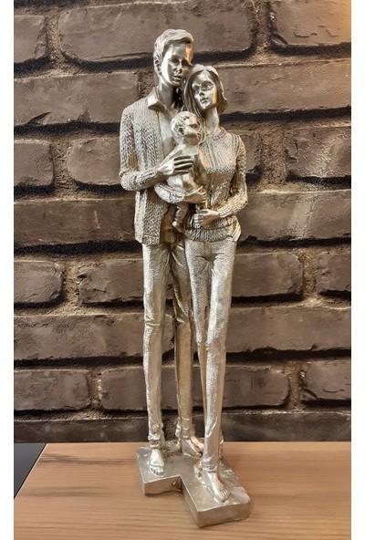 Pınarstore Dekoratif Aile Temalı Bebekli Gümüş Biblo 41 Cm. 2891