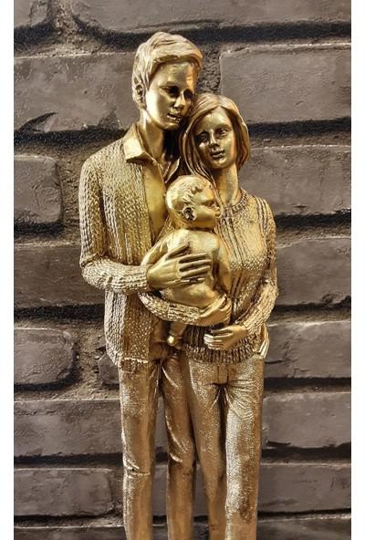 Pınarstore Dekoratif Aile Temalı Bebekli Gold Biblo 41 Cm. 2890