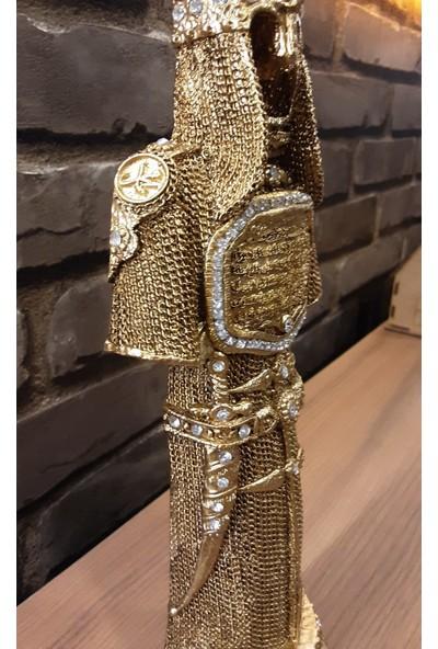 Pınarstore Dekoratif Ayetel Kürsi Işlemeli Gold Selçuklu Asker Zırhı Biblo 30 cm 2898