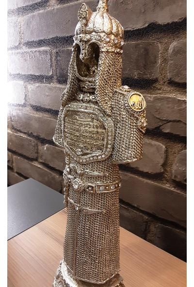Pınarstore Dekoratif Ayetel Kürsi Işlemeli Gümüş Selçuklu Asker Zırhı Biblo 30 cm 2897