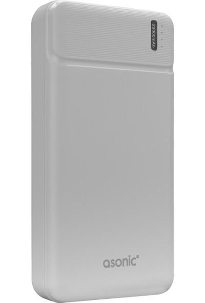 Asonic AS-P20 20000MAH 2*usb Output Powerbank Beyaz Taşınabilir Pil Şarj Cihazı