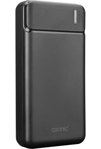 Asonic AS-P20 20000MAH 2*usb Output Powerbank Siyah Taşınabilir Pil Şarj Cihazı