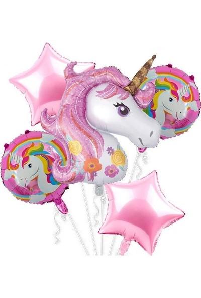 Pazariz 5'li Pembe Unicorn Folyo Balon Seti