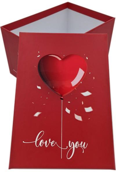 Ambalajist Hediye Kutusu Kırmızı Kalp 2 No Kutu