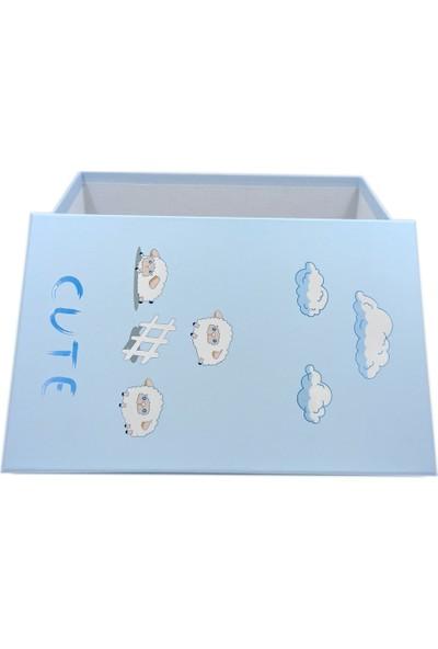Ambalajist Bebek Kutusu Mavi Kuzular 4 No Hediyelik Kutu