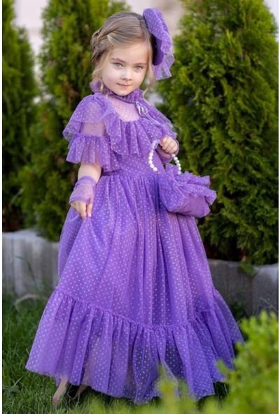 Riccotarz Kız Çocuk Noble Beaute Şapkalı Mor Abiye