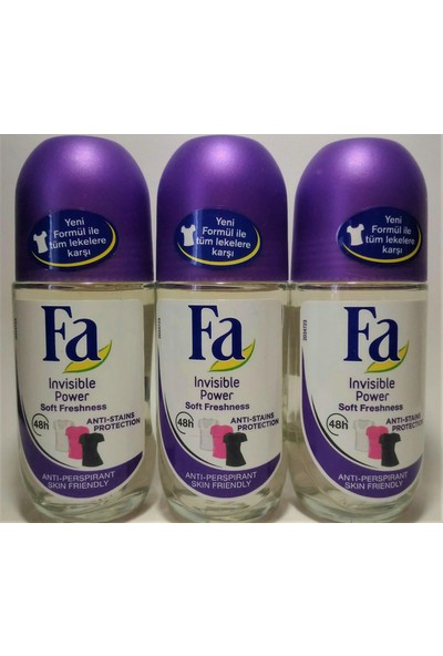 Fa Invisible Power Soft Freshness Roll On 3 Adet