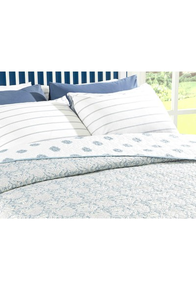 English Home Leaves Shawl King Size Çok Amaçlı Yatak Örtüsü 240 x 220 cm Mavi