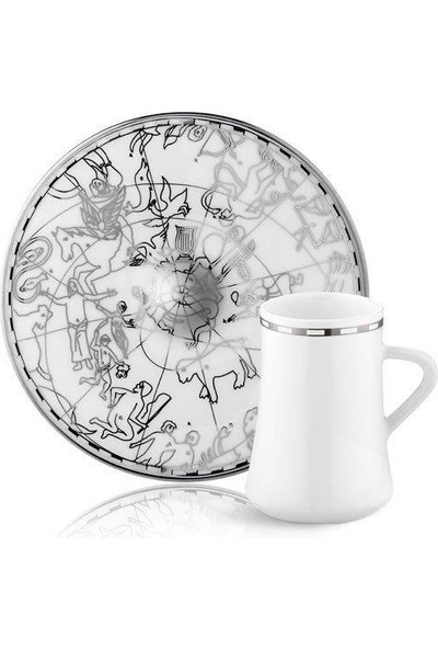 Koleksiyon Sufi Irismano Platin Lungo 6 Kişilik Türk Kahvesi Fincanı