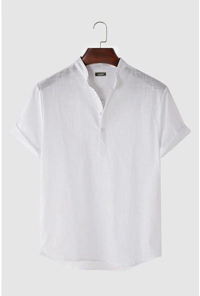Terapi Men Erkek Hakim Yaka Kısa Kollu Yarım Patlı Keten Gömlek 21K-4300571-2 Beyaz
