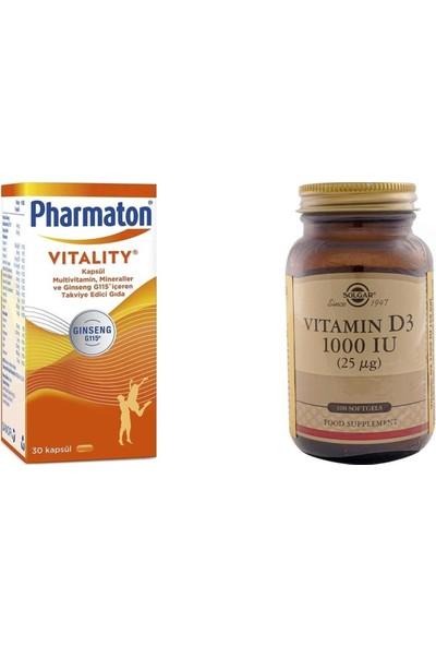 Solgar Pharmaton 30 Kapsül Multivitamin + Solgar Vitamin D3 1000 Iu 100 Kapsül