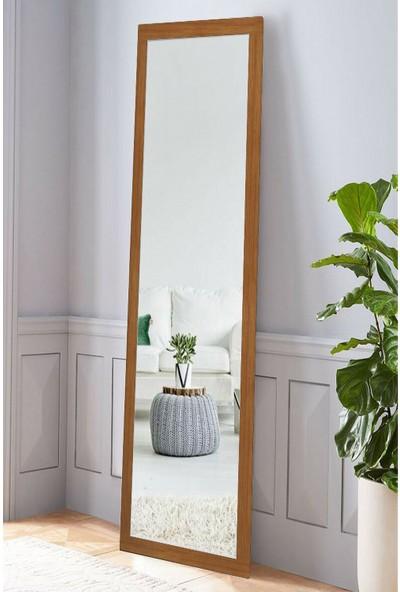Hüma's 160 x 58 cm Teak Rengi Ahşap Dekoratif Retro Boy ve Duvar Aynası