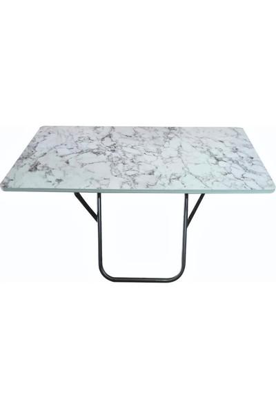 Lovera Katlanır Pratik Çok Amaçlı Masa Kamp-Mutfak- Masası Beyaz 60*110 cm