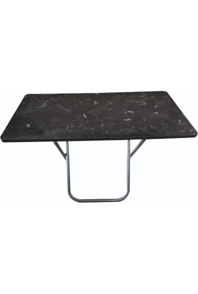 Lovera Katlanır Pratik Çok Amaçlı Masa Kamp-Mutfak- Masası Siyah 60*110 cm
