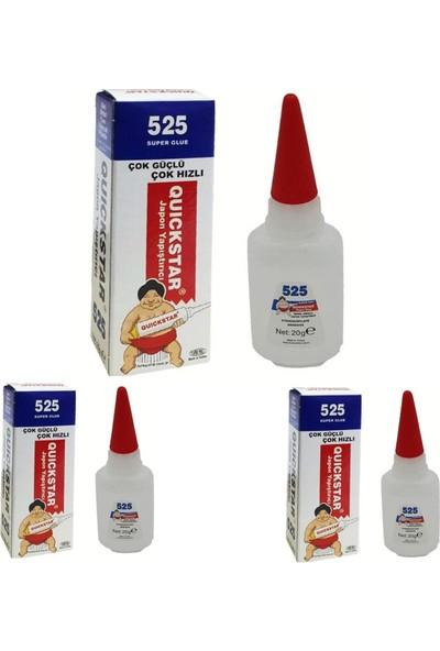 Quıckstar 3 Adet 20GR Metal-Plastik-Cam-Ahşap-Porselen Güçlü Pratik Hızlı Japon Yapıştırıcı(Quıckstar 525)