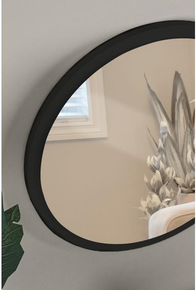 Hüma's Dekoratif Yuvarlak Siyah Duvar Salon Ofis Aynası 60 cm