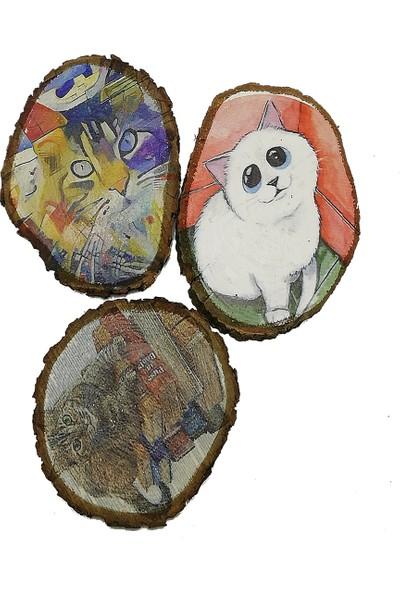 Wood Doğal Meşe Bardak Altlığı Kediler 3