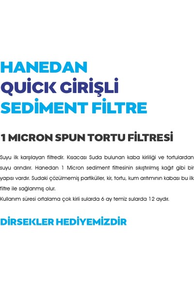 Hanedan Kapalı Kasa Su Arıtma Filtresi 1 Micron Sediment Filtre (Quick Bağlantı)