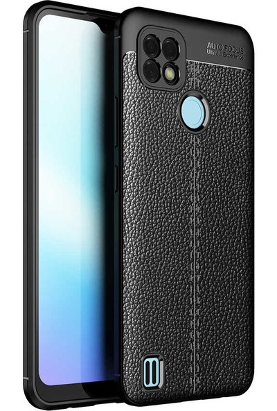 Ceponya Realme C21 Kılıf Kamera Korumalı Deri Görünümlü Silikon Siyah
