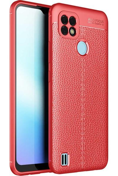 Ceponya Realme C21 Kılıf Kamera Korumalı Deri Görünümlü Silikon Kırmızı