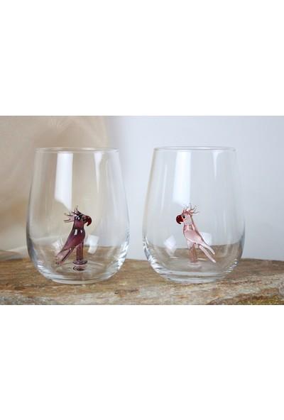 Adamodart Pembe & Mor Papağan Figürlü 2'li Su Bardağı
