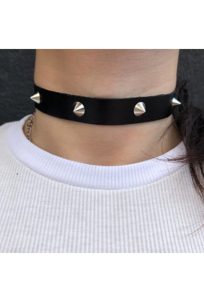 Alp Collection Siyah Deri Tasma Zımba Detaylı Ayarlanabilir Choker Bayan Kolye