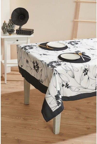 Ays Home Siyah & Beyaz Çiçekli Leke Tutmaz Masa Örtüsü